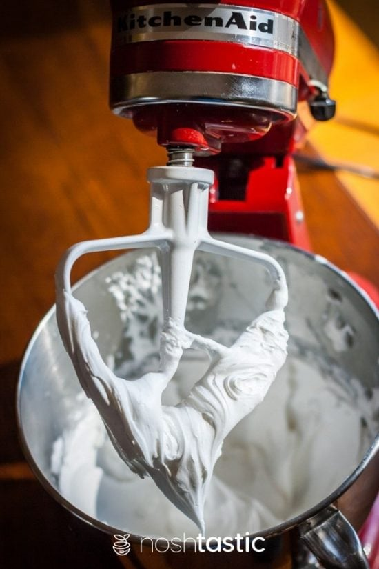Royal icing in a mixer bowl