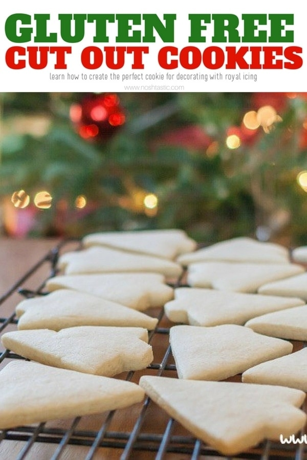Gluten Free Cut Out Cookies - want a recipe that taste wonderful and holds it's shape? Look no further, this recipe has been used hundreds of times to create professionally decorated cookies, also in the post is a link to an easy royal icing recipe for cookies. | www.noshtastic.com | #glutenfreecookie #glutenfreecutoutcookie #glutenfreesugarcookie #glutenfree #noshtastic #glutenfreerecipe #royalicing