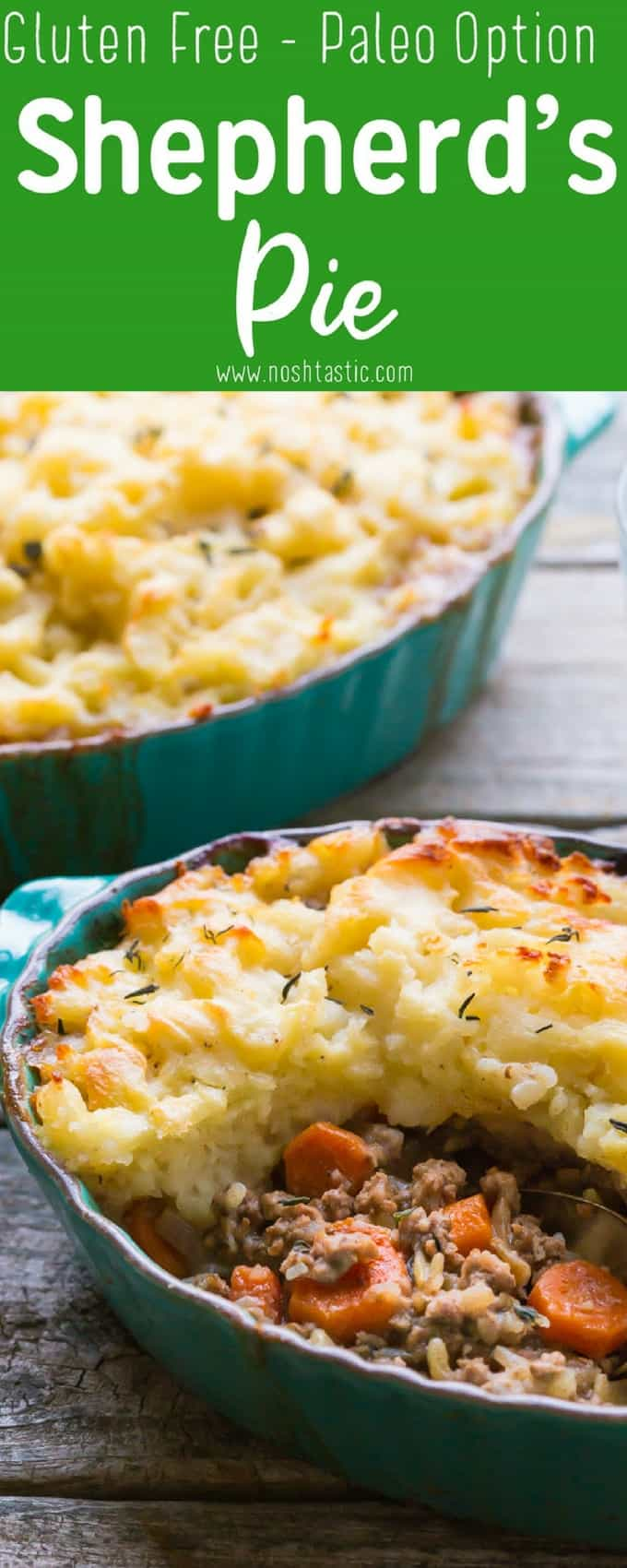 Gluten Free Shepherds Pie is a classic British dish traditionally made with lamb, but you can make it with ground beef if you prefer!  it's Low carb, gluten free and with Paleo and Whole30 options.