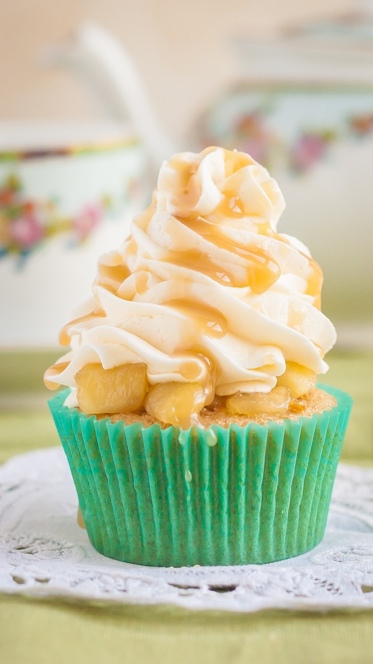 Delicious Gluten Free Apple Pie Cupcakes with Caramel Topping | perfect Fall comfort food! | Gluten Free | Dairy Free |