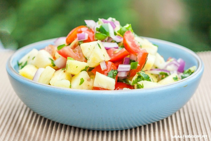 Fresh Pineapple Salsa is a perfect accompaniment to any grilled meat or fish dish! It's gluten free, paleo, whole30 and vegan.