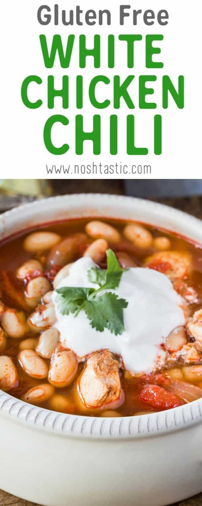 An Easy Gluten Free White Chicken Chili recipe that's ready in less than 30 minutes!