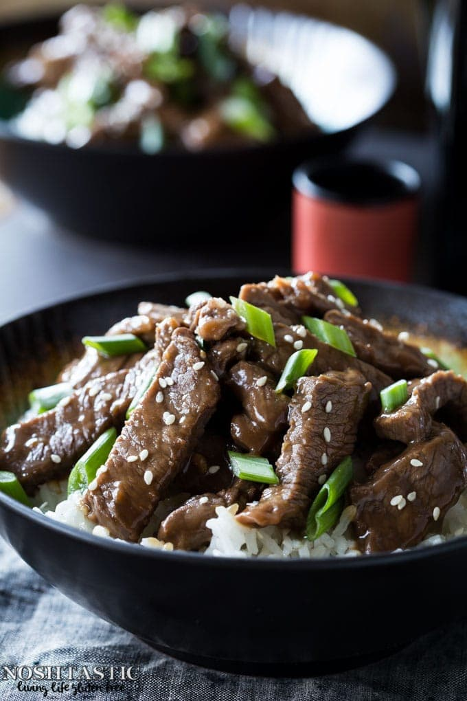 A quick and easy ten minute better than PF Chang's Gluten Free Mongolian Beef recipe (copycat) you can make at home!