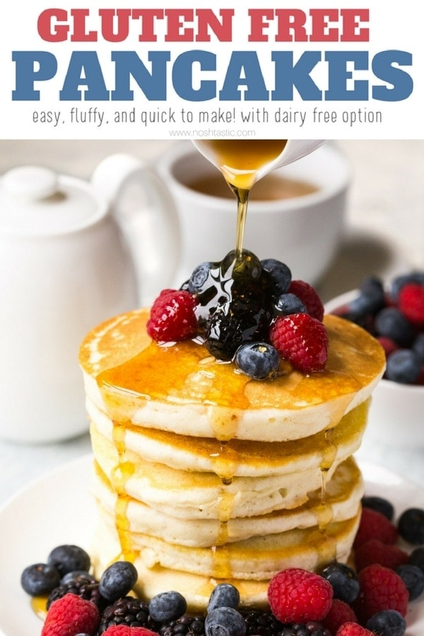 Gluten free pancakes recipe, fluffy, easy to make and a perfect breakfast recipe! | www.noshtastic.com | #glutenfreepancakes #glutenfreebaking #glutenfree #dairyfree #glutenfreerecipe #noshtastic #glutenfreerecipe