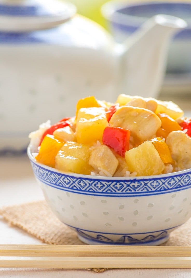 Paleo Sweet and Sour Chicken recipe that is cooked in LESS than 15 Minutes, perfect for a weeknight family meal and so much better than takeout!