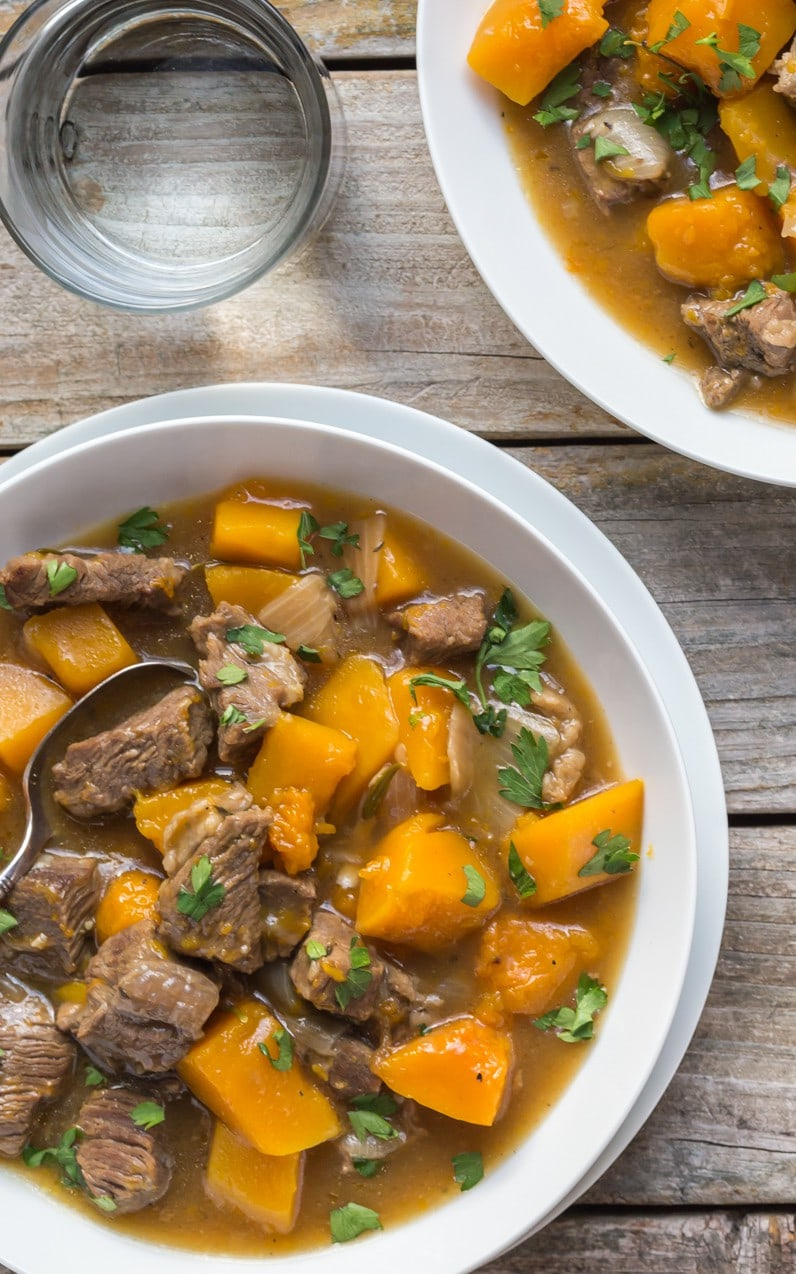 Delicious Healthy Beef and Butternut Squash Stew! It's Paleo,Whole30, Gluten Free, Low Carb. Can be made in a slow cooker or crockpot, make it TODAY!