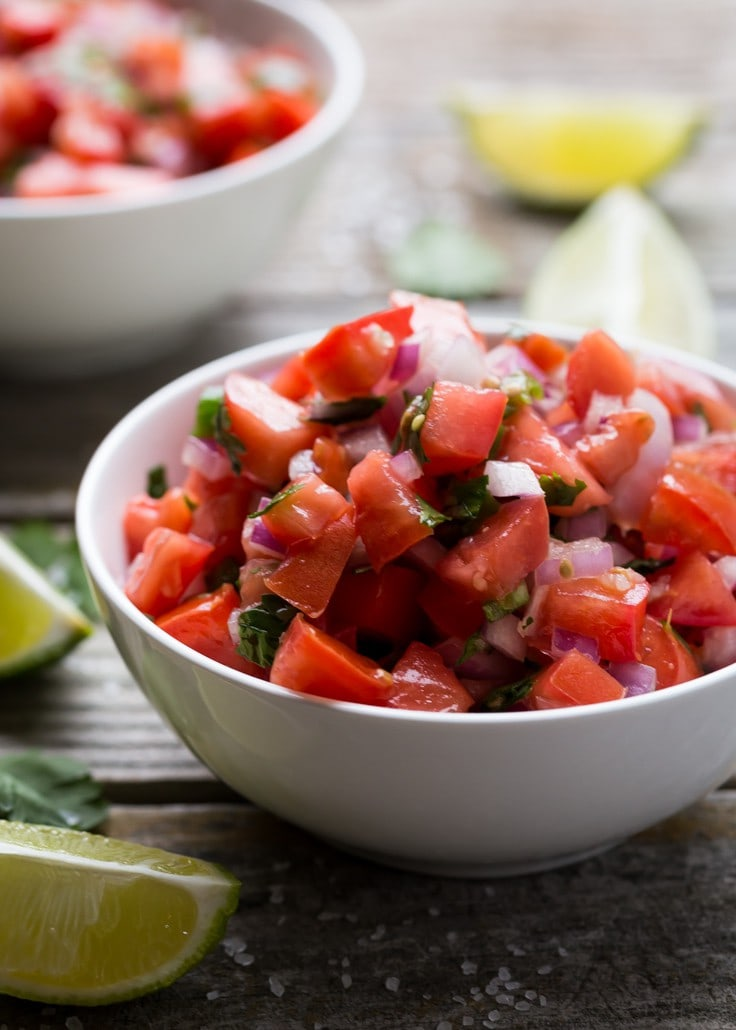 The BEST no cook salsa, make it in TEN minutes with fresh tomatoes, cilantro and red onion | Gluten Free | Vegan | Paleo | Whole 30 |