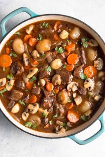 Large pan of Beef Bourguignon