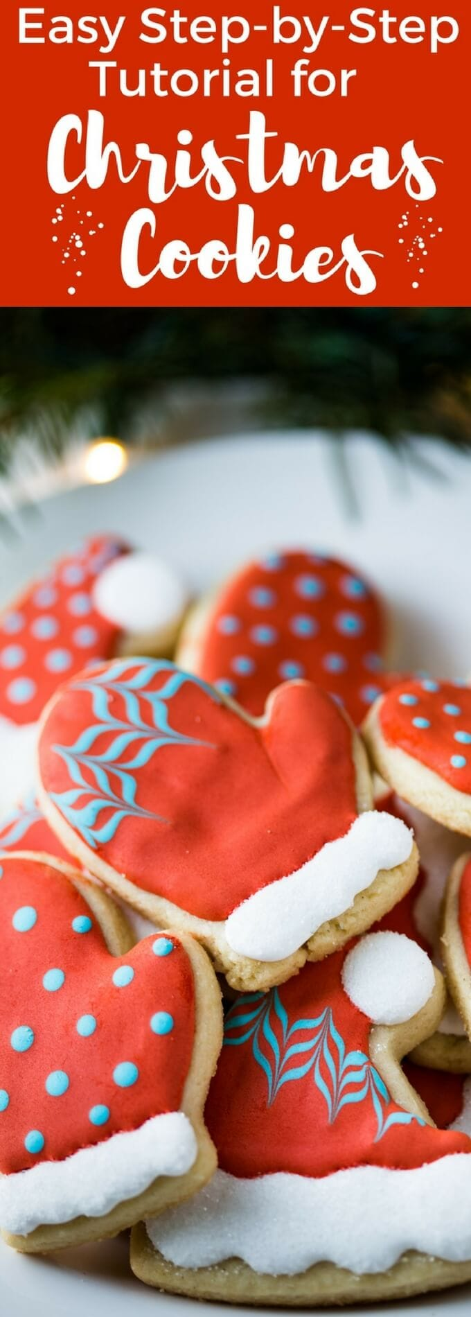 an easy christmas cookie decorating tutorial for hat and mitten cookies with step by step photos