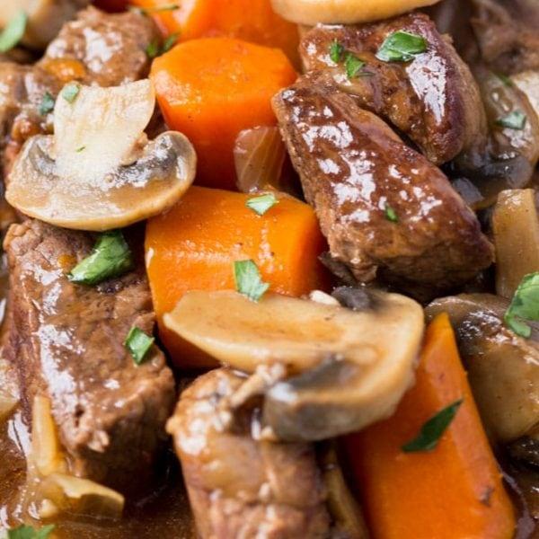 crockpot Beef Bouguignon Recipe, this recipe is gluten free and delicious!