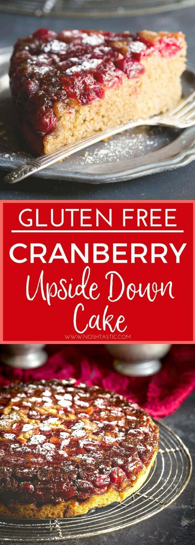 A delightfully festive Gluten Free Cranberry Upside Down Cake that is perfect for the holiday season!