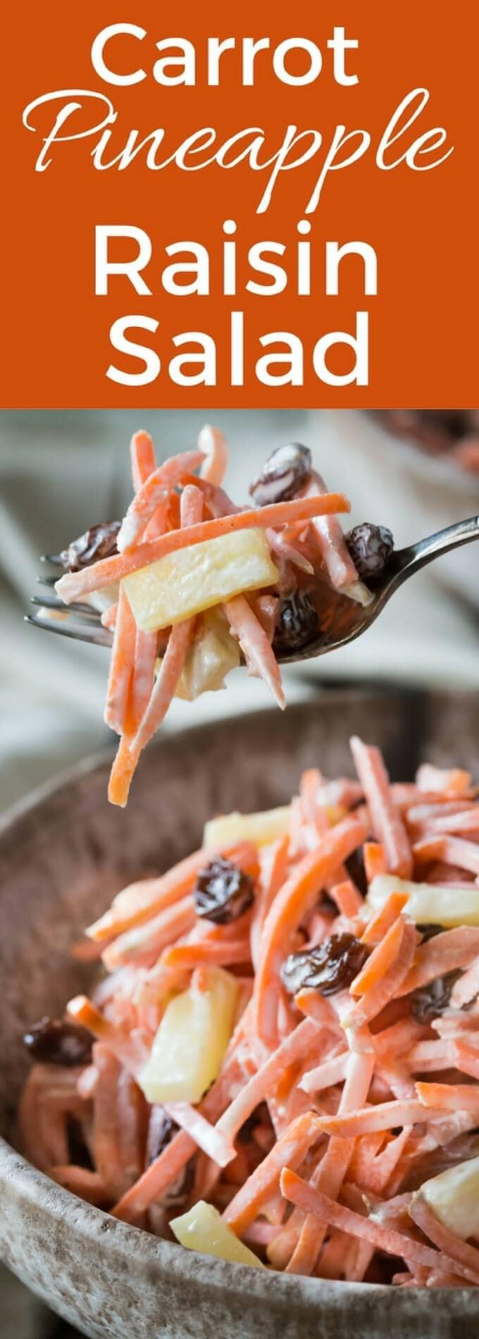 Healthy 5 Minute Carrot Raisin Pineapple Salad! It's vegetarian, make it vegan with a mayonnaise substitute. gluten free, dairy free!
