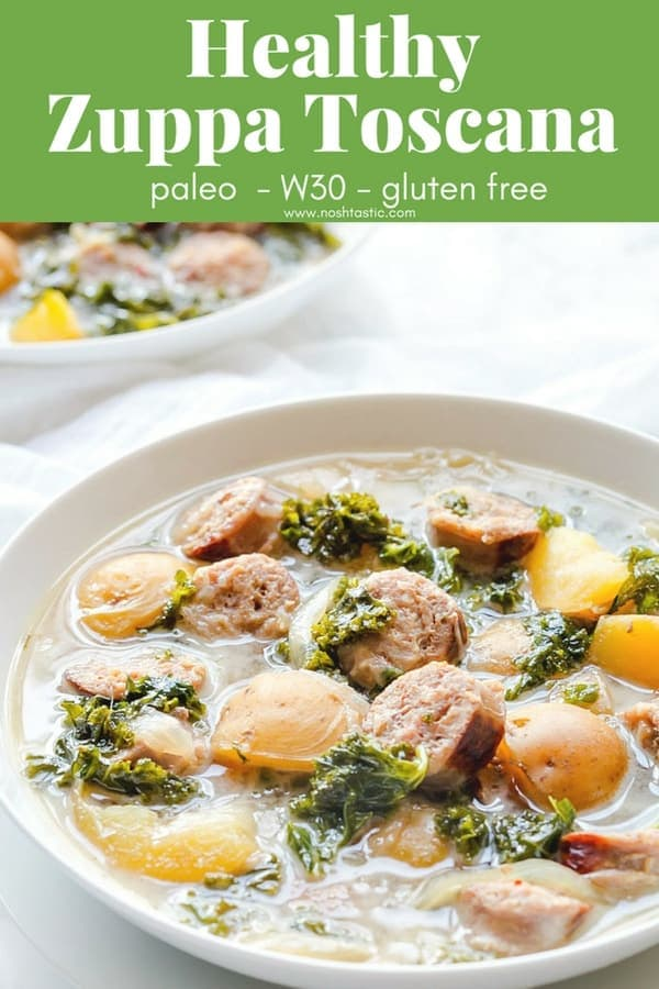 Healthy Gluten Free Zuppa Toscana soup. This recipe is full of fresh ingredients, it's also Paleo and dairy free, made with coconut milk.#paleo #paleosoup #whole30 #glutenfree #zuppatoscana #olivegarden #copycatrecipe #glutenfreesoup #dairyfree #dairyfreesoup