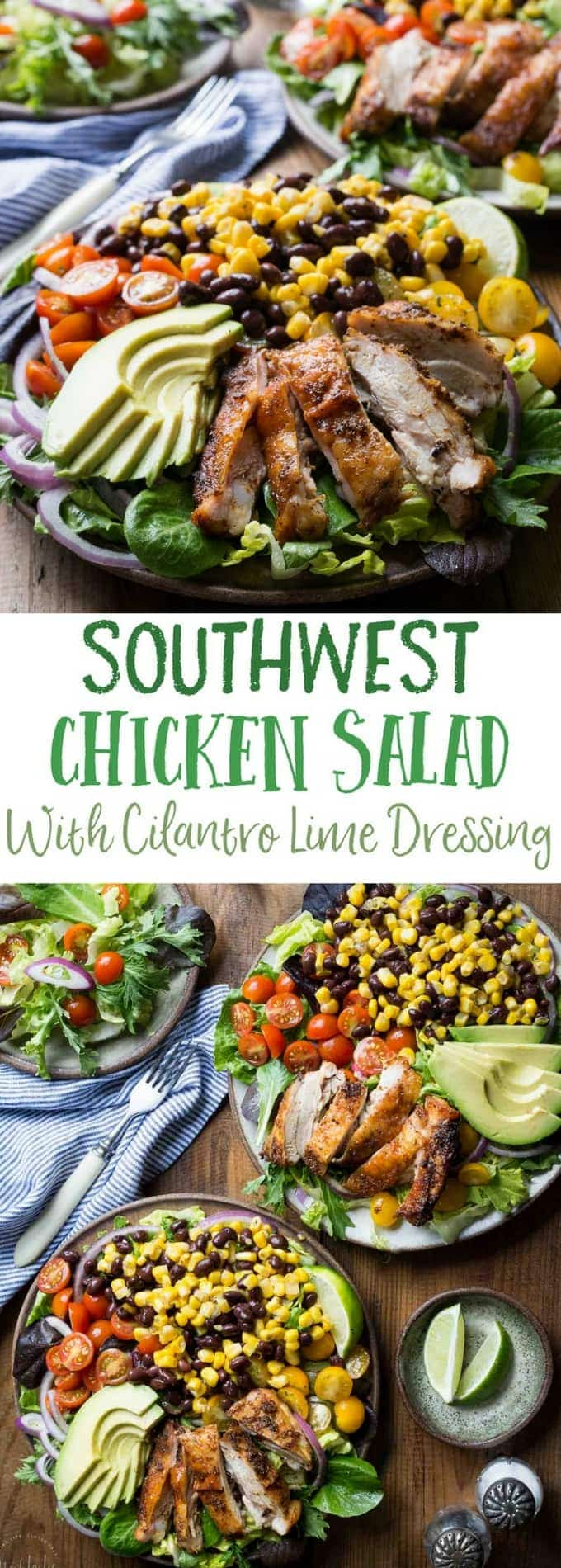 Better than McDonalds Southwest Chicken Salad! chicken marinated in garlic, onion, cumin and oregano and served over a bed of Romaine and salad leaves with sweetcorn, black beans, red onion and avocado, and topped with a homemade Cilantro Lime Dressing. This recipe is gluten free, healthy and delicious, you can grill the chicken too!