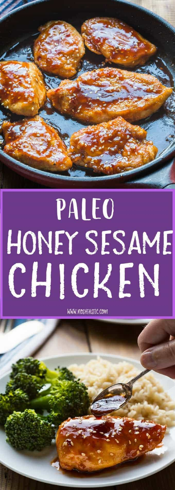 The BEST Paleo honey sesame chicken, it's so easy to make in about 10-15 minutes, a firm favorite in our house! If you are not paleo you can simply use gluten free soy sauce and cornstarch to replace the coconut aminos and arrowroot.