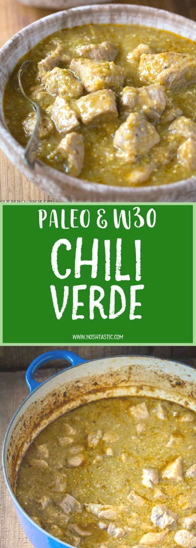 Easy and healthy , gluten free, whole30, Paleo Chili Verde recipe with roasted tomatillos, garlic, onion, and tender pieces of pork that melt in your mouth and it's low carb too!