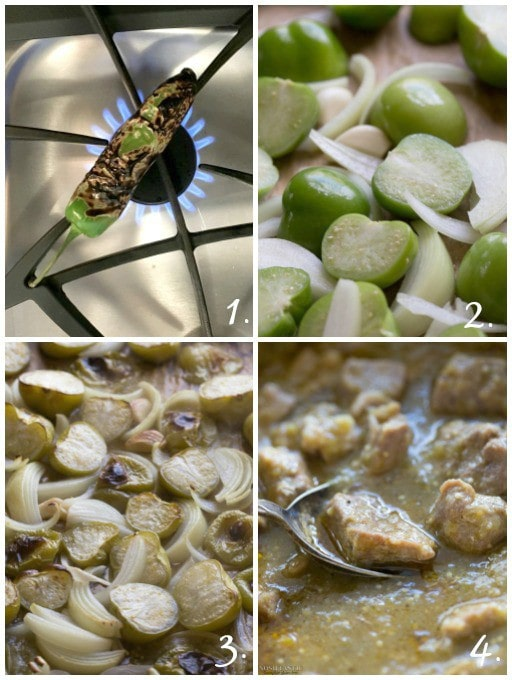 Easy Paleo Chile Verde recipe with roasted tomatillos, garlic, onion, and tender pieces of pork that melt in your mouth! it's Gluten Free and Whole30 too.