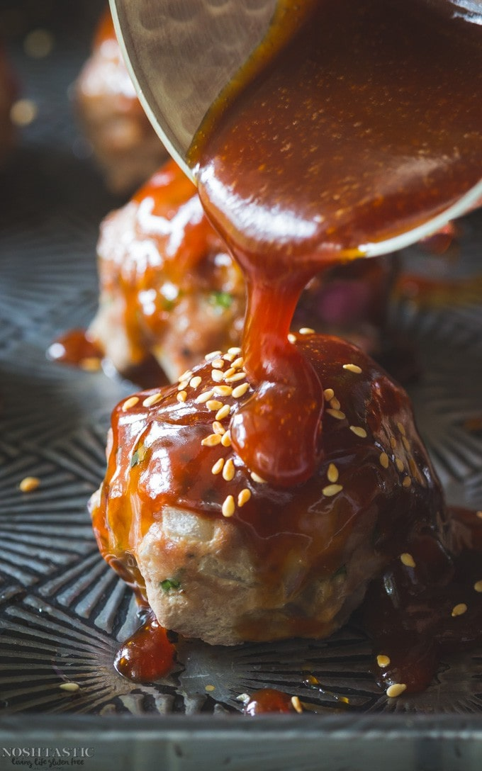 My easy oven baked Gluten Free Turkey Meatballs with Asian Style Sauce are perfect for a weeknight family meal, with paleo option |