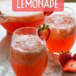 homemade strawberry lemonade in a glass