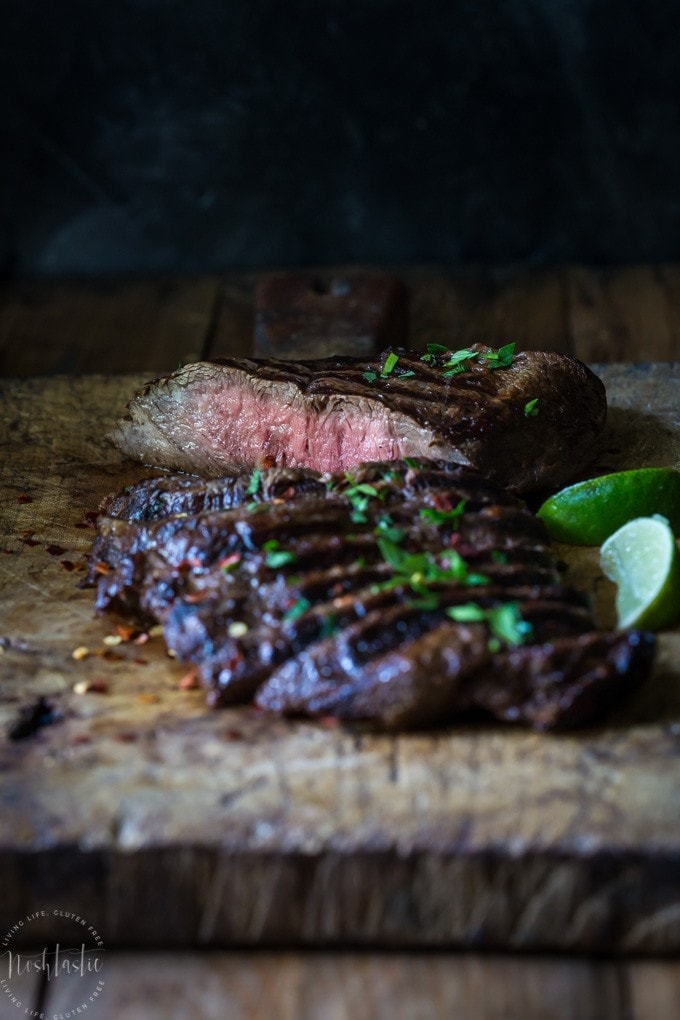 This marinaded Grilled Flat Iron Steak is so simple to prepare and just melts in your mouth!| Gluten Free with Paleo and Whole30 Option |