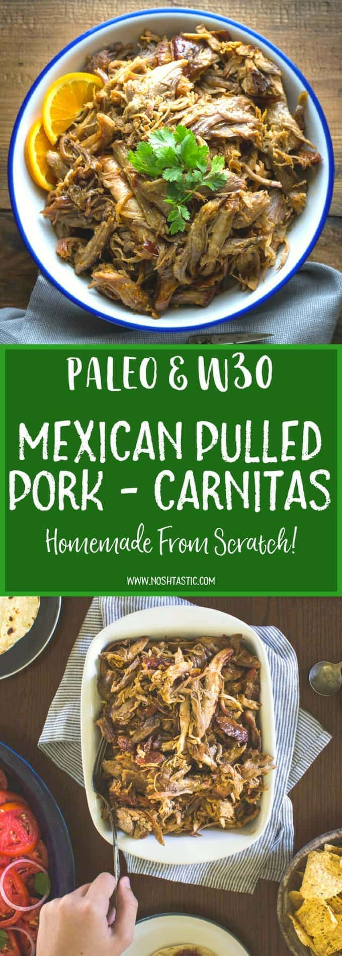 Fabulous easy Paleo Carnitas - Mexican Pulled Pork, make it easily in the oven, or on the grill! | Paleo, gluten free, whole30, healthy and low carb
