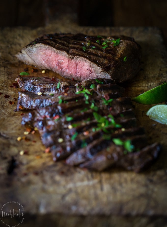 This marinaded Grilled Flat Iron Steak is so simple to prepare and just melts in your mouth!