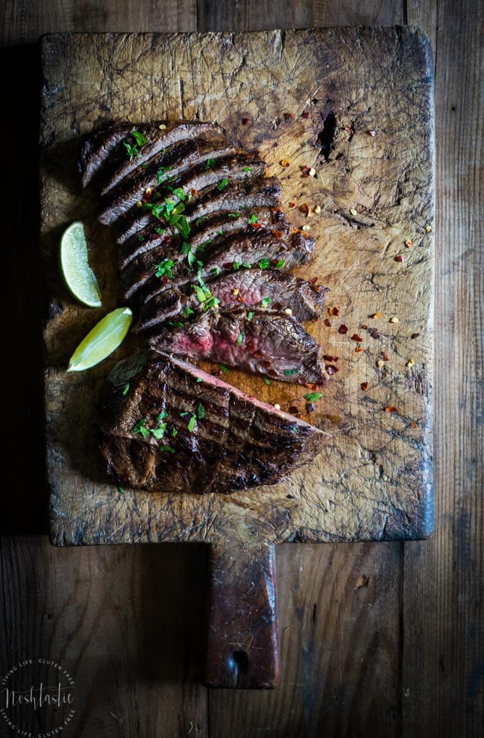 This marinaded Grilled Flat Iron Steak is so simple to prepare and just melts in your mouth! Paleo and Whole30 option