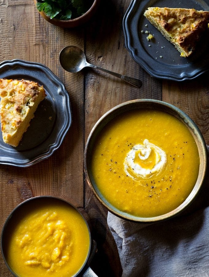 This naturally creamy Paleo Roasted Butternut Squash Soup with Apple is so easy to make and super healthy, It can be made vegan and Whole30 too!