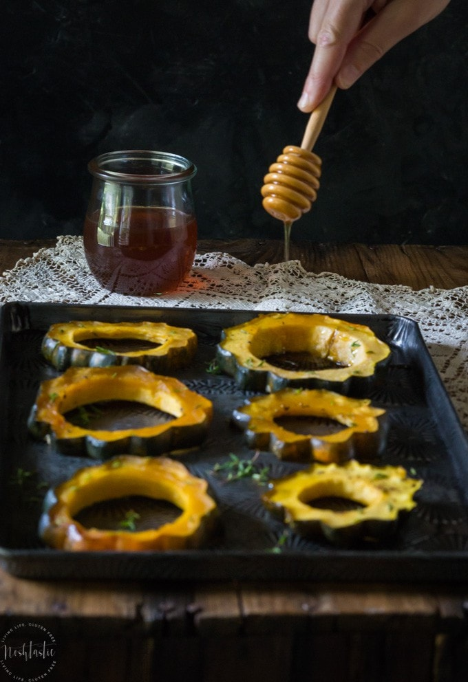 My Maple Roasted Acorn Squash with Thyme makes a wonderful Fall side dish and it's vegan and Paleo, gluten free and healthy!