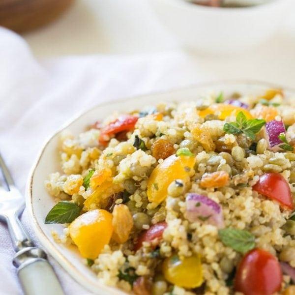 Quinoa Lentil and Rasin Salad