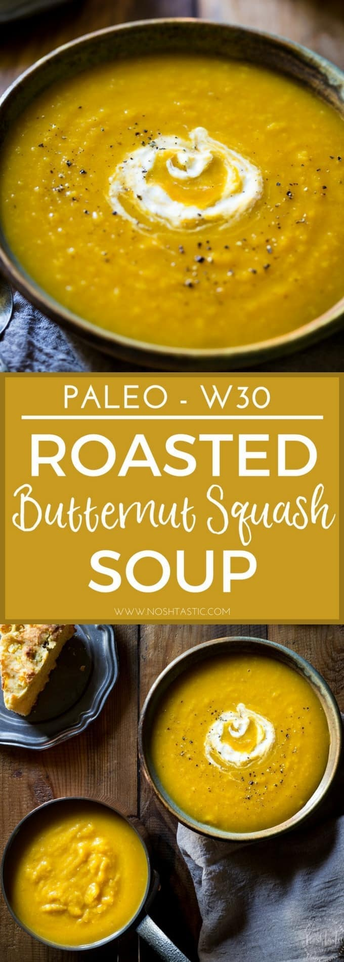 This naturally creamy Roasted Paleo Butternut Squash Soup with Apple is so easy to make and super healthy, it's gluten free and Whole30 and can be made vegan