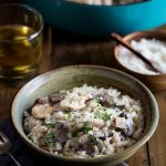 You'll love my NO STIR Chicken and Mushroom Risotto Recipe! It's Insanely delicious and bakes easily in the oven in about 20 minutes! It's gluten free too.