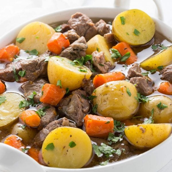 Pressure cooker Irish stew is an adaptation of a classic recipe with lamb, potatoes, carrots and herbs. It's gluten free, paleo and whole30, perfect for your Instant Pot.