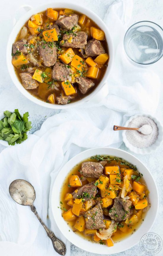 This Pressure Cooker Beef and Butternut Squash Stew is an easy weeknight meal that your whole family will love! it's gluten free, paleo, whole30, low carb. Perfect for your Instant Pot or other Electric Pressure Cooker.