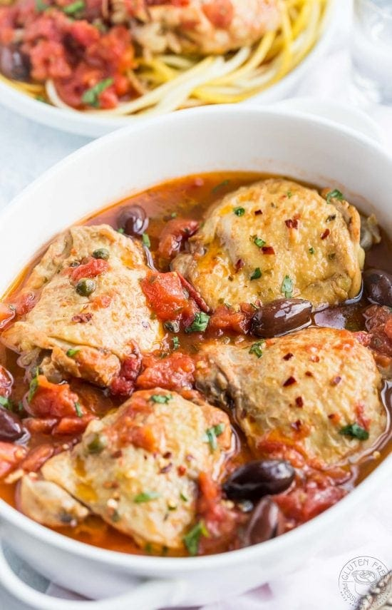 This easy Pressure cooker Chicken Puttanesca Recipe is a breeze to make in your Instant Pot or other electric pressure cooker, it's a gluten free variation of the Italian dish Spaghetti alla puttanesca.