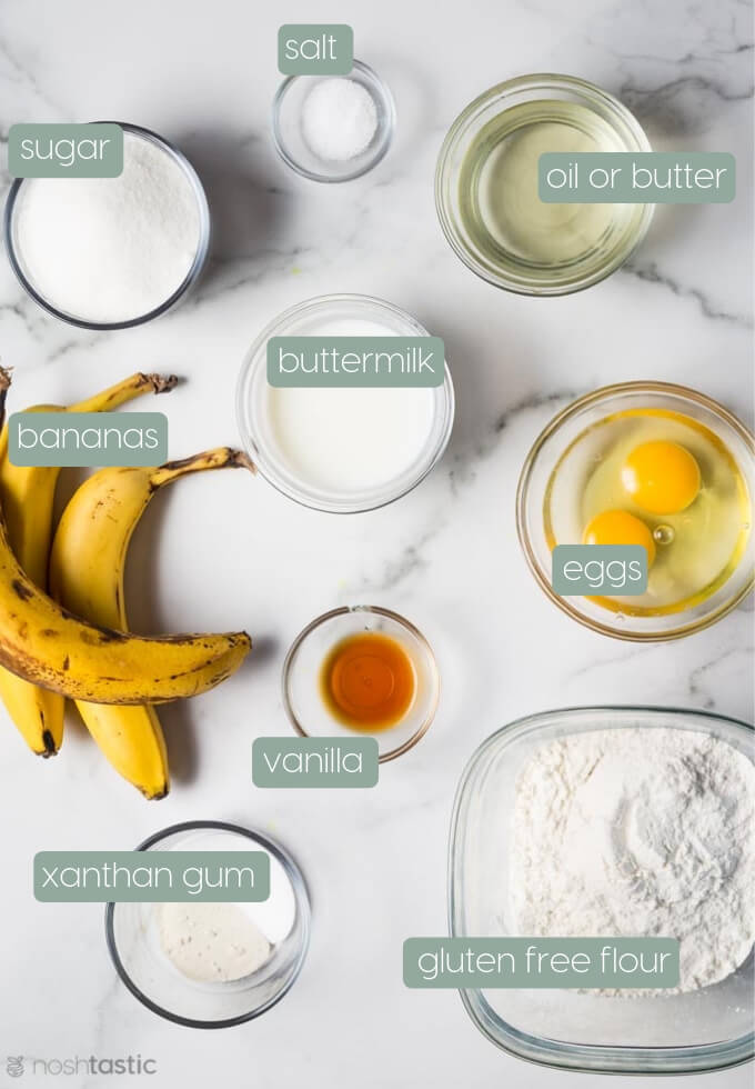 Ingredients for gluten free banana bread