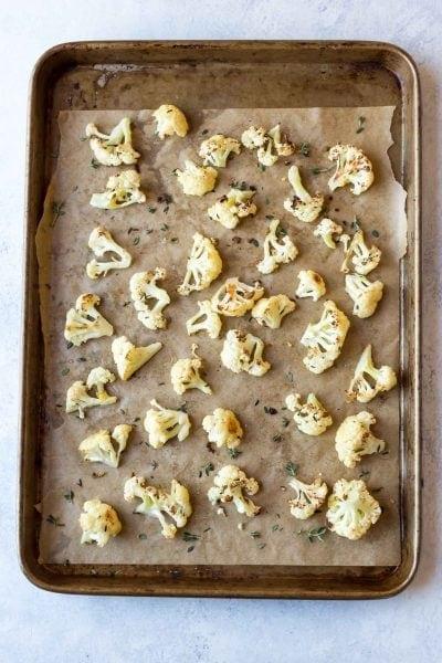 Paleo Roasted Cauliflower with Lemon, Thyme and Garlic