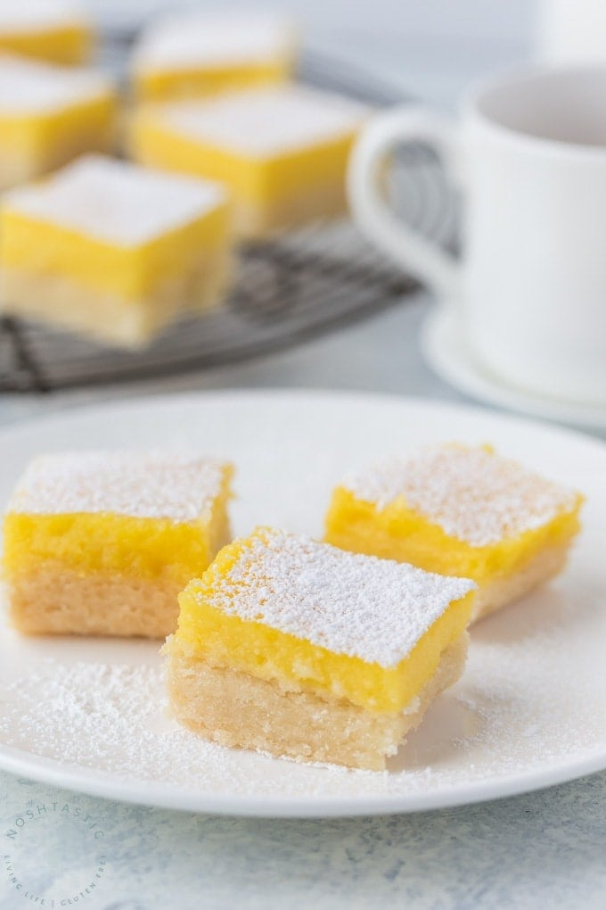Best Easy Gluten Free Lemon Bars recipe, perfect for beginners and experience bakers and NO MORE SOGGY CRUST!!! I promise! get my tips and step by step directions for making your own gluten free lemon bars with this foolproof recipe | www.noshtastic.com | #lemonbars #glutenfreelemonbars #glutenfreebaking #glutenfreecookies #glutenfreecakes #glutenfree #noshtastic #glutenfreerecipe #glutenfreecookies #glutenfreedessert