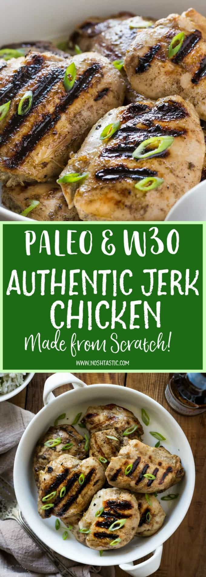My authentic Paleo jerk chicken recipe is homemade from scratch and packs a fabulous flavor punch!! it's gluten free, and whole30 too and the marinade can be made in seconds in your blender