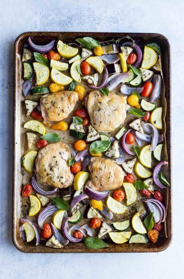 Sheet pan Chicken with Roasted Ratatouille! This healthy one pan meal is gluten free, paleo, whole30, and low carb.