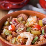 You can make this authentic homemade Cajun Jambalaya Recipe really quickly on your stovetop, it's flavor packed with bell peppers, celery, onions, spices, chicken and shrimp, you'll love it! This recipe is healthy, made from scratch, gluten free and dairy free too.