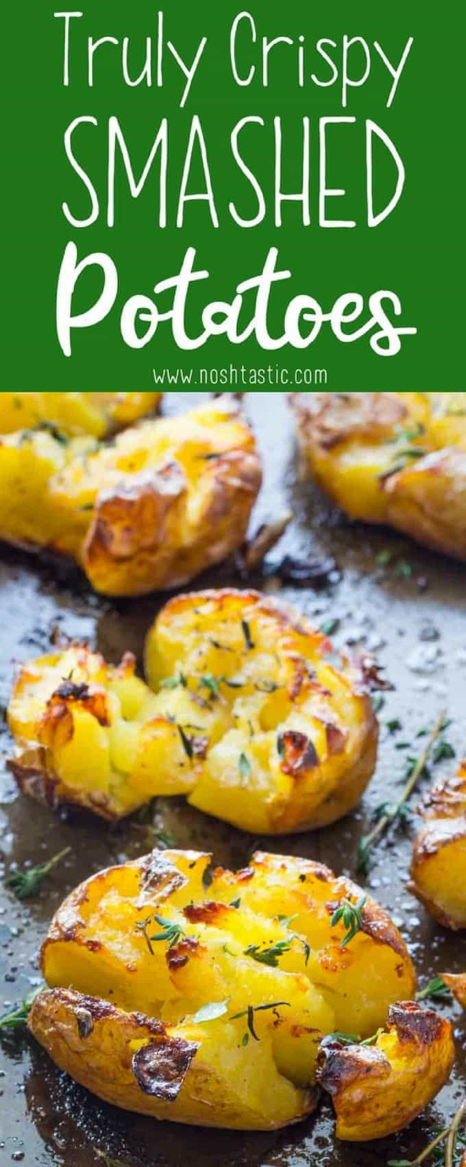 Smashed Potatoes baked with garlic, olive oil and herbs, fluffy in the ...