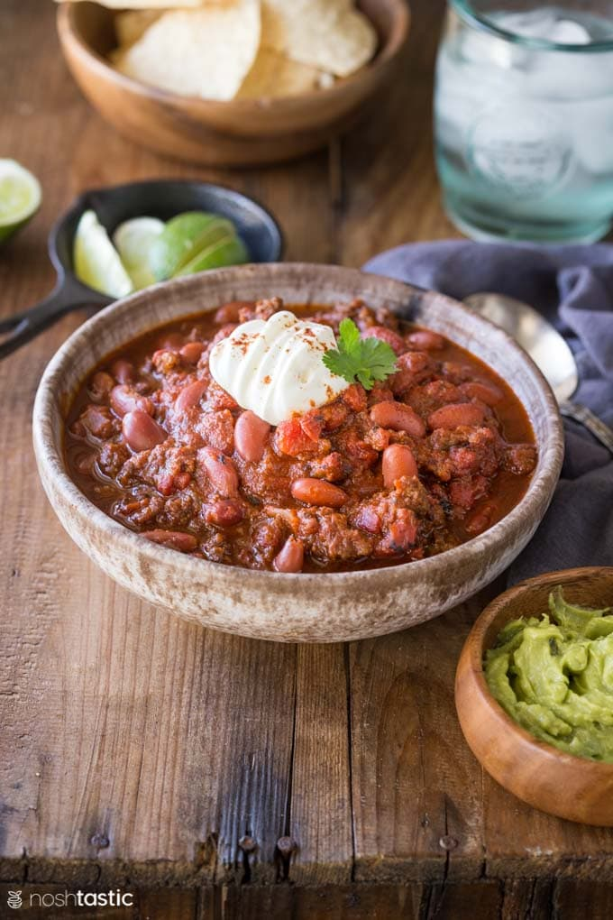 Bowl of Instant Pot Chili on a table