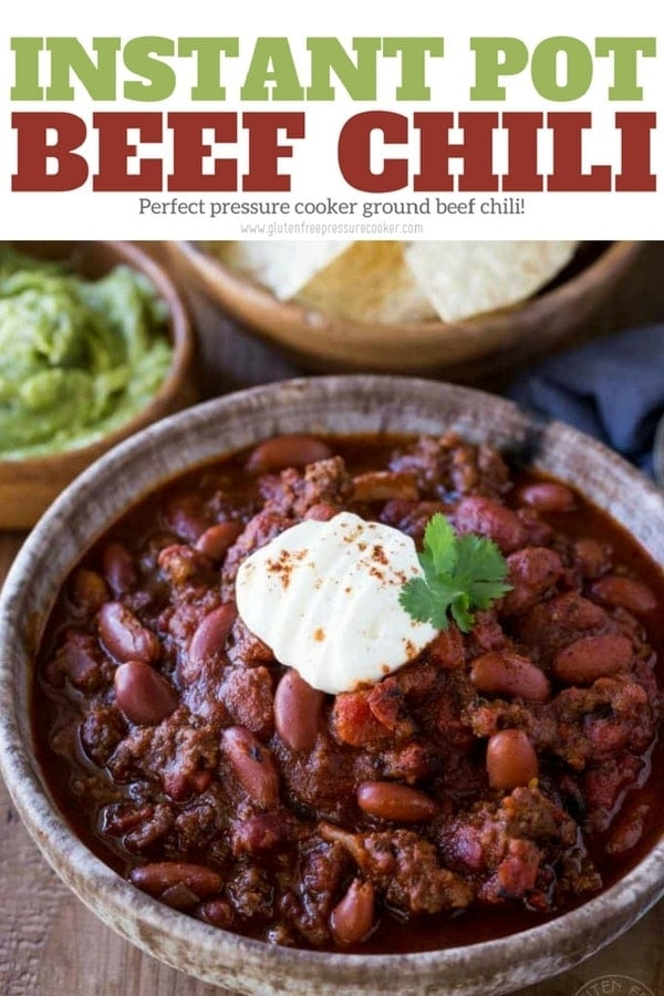 BEST Instant Pot Chili!! My recipe for pressure cooker beef chili has been tested & tweaked to create a delicious pressure cooker ground beef chili recipe you'll LOVE! It's gluten free. Pressure cooker recipe for ground beef chili, Texas style Chili con carne #pressurecookerchili #instantpotchili #instantpot #instapot #texaschili #chili #groundbeef #beef #groundbeefchili #pressurecooker #pressurecooking #glutenfreepressurecooker