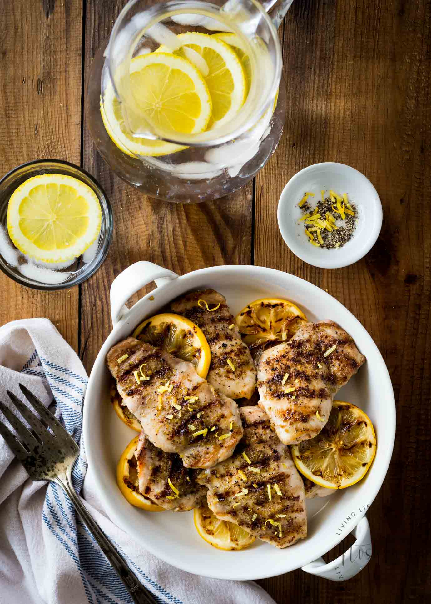 Healthy Lemon Pepper Chicken with a perfect homemade, from scratch, seasoning! Contains lemon zest, garlic, salt, pepper, and onion powder, it's gluten free, dairy free, paleo, whole30, low carb and healthy! You can pan fry it, bake it in the oven, or make it on the grill, it's so easy!