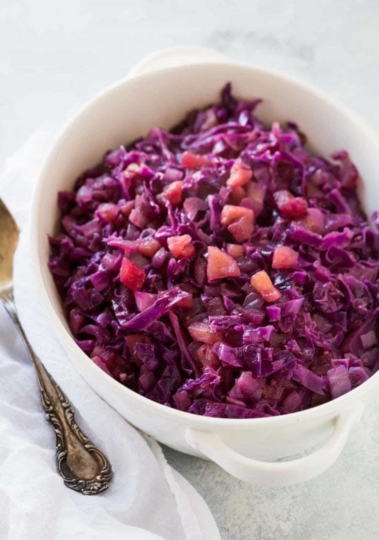 It's a breeze to cook my pressure cooker braised red cabbage and apple recipe in your Instant Pot or Electric Pressure cooker, it only takes 5 minutes, it's perfect to serve with most meats and of course it's gluten free, vegan, vegetarian, and low calorie, and has a paleo and vegan option.