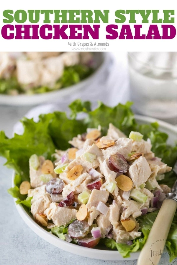 Southern Chicken Salad is a classic American recipe you'll love! gluten free, paleo, healthy, and Whole30 compliant. Made with chicken, grapes, mayo and almonds. www.noshtastic.com #chickensalad #paleo #whole30 #glutenfree #chickensalad #paleosalad #whole30salad #glutenfreesalad #noshtastic