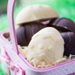 Homemade chocolate easter eggs stuffed with Cheesecake