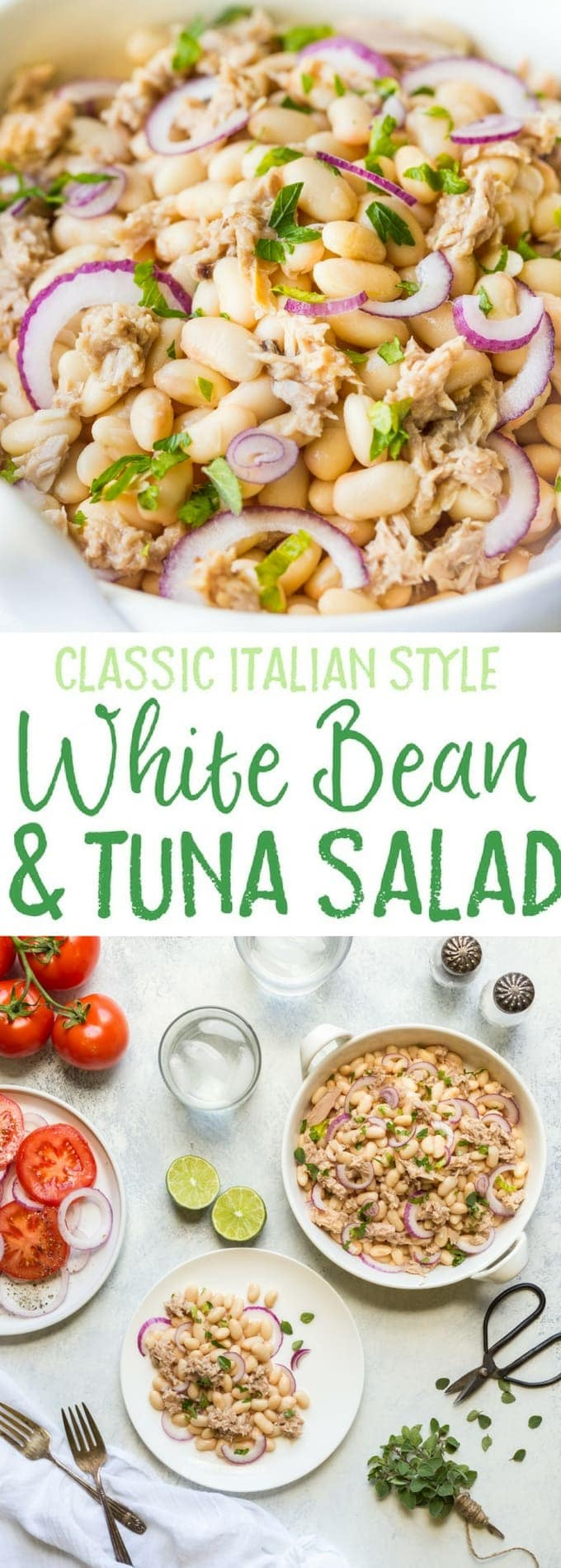 You'll love my Tuna White Bean Salad with Red Wine vinegar dressing, and no mayo! It's packed full of protein and contains, tuna, white beans and fresh parsley. A really healthy, gluten free, low calorie lunch or dinner option, this salad is ready to eat in less than 5 Minutes!