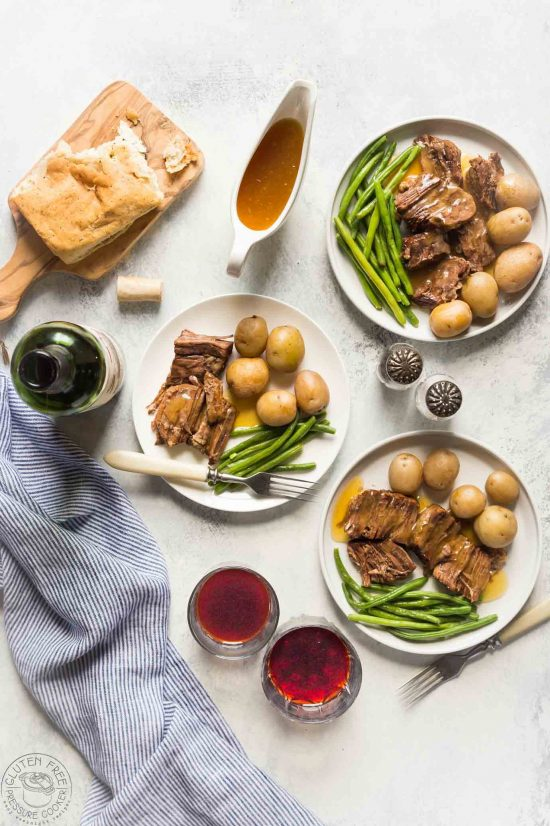 Now you can cook a classic pot roast in your electric pressure cooker in less than an hour! This easy recipe makes a really easy, healthy weeknight meal! It's gluten free, paleo and whole 30, low carb, and healthy!